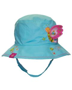 Girls Reversible Cotton Butterfly/Flower Hat