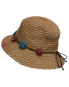 Girls Straw Flower Hat