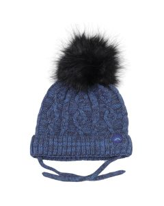 Cotton Knit Faux Fur PomPom Hat