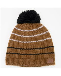 Acrylic Knit Striped Pompom Hat